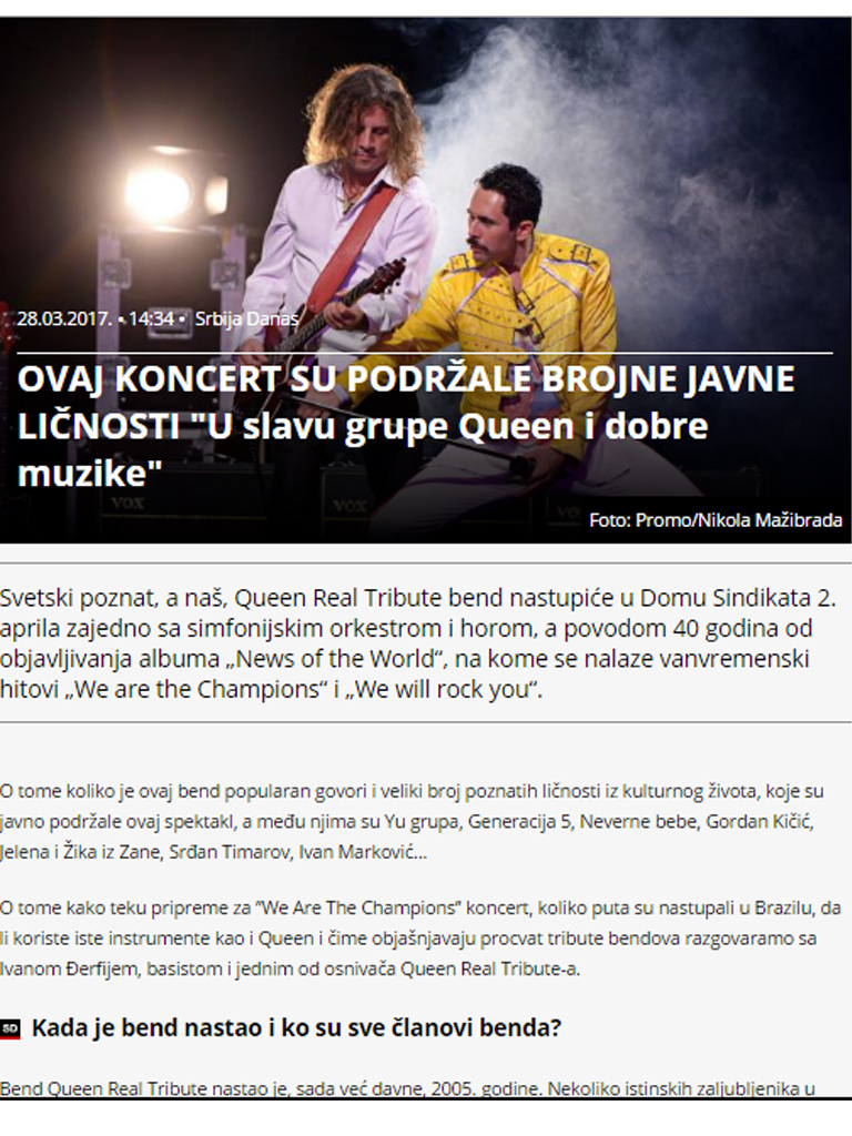 "This concert is supported by many public figures ""In honor of Queen and good music"""